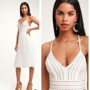 Delectable Delilah white embroidered midi dress